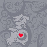 Red heart in gray vines Royalty Free Stock Photo