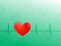 Red heart on green backgroun Stock Photo