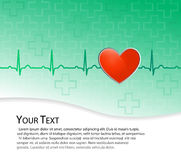 Red heart on green background with ekg (ecg) Royalty Free Stock Photo