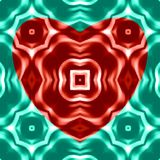 Red heart on green background. Ornament of shapes. Oil paint effect. Vector. Stock Image