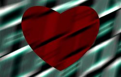 Red heart on green background. Stripes on the picture. Vector. stock photo
