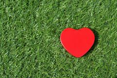 Red heart on green grass texture. Love natural. Stock Photo