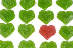 Red heart in green hearts Royalty Free Stock Image