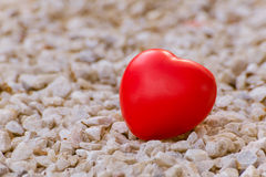 Red heart on green leaf with nature background Royalty Free Stock Photos
