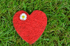 RED HEART ON GREEN MEADOW Royalty Free Stock Images