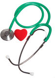 Red heart and green stethoscope isolated Stock Images