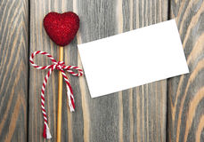 Red heart and greeting card Royalty Free Stock Photos
