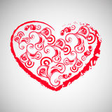 red heart on grey background. Red heart with twirls on grey background Royalty Free Stock Photography