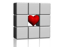 The red heart in grey cubes Stock Image