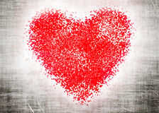 Red heart on grey grangy background Royalty Free Stock Photos