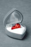 Red heart in grey velvet box Royalty Free Stock Image