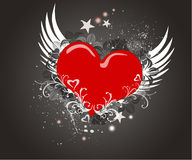 Red  heart on the grunge background Stock Images