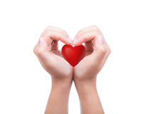 Red heart in hand Stock Photos