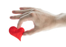 Red heart in hand. Stock Image