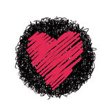 Red heart. Hand drawing of heart doodle on black circle by crayon . use for background Stock Image