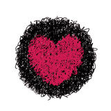 Red heart. Hand drawing of heart doodle on black circle by crayon . use for background Stock Images