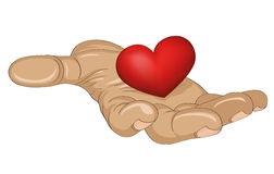 Red heart in the hand.  Gesture open palm.  Vector illustration Royalty Free Stock Photography