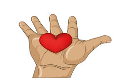 Red heart in the hand.  Gesture open palm.  Vector illustration Royalty Free Stock Photos