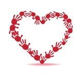 Red heart hand prints vector Stock Photos