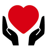 Red heart in hands. Black hands holding red heart icon vector illustration