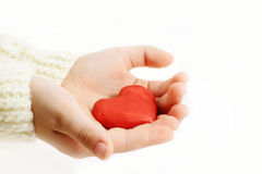 Red heart  in the  hands Stock Image