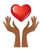 Red heart and hands Stock Photos