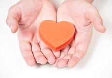 Red heart in the hands Royalty Free Stock Images