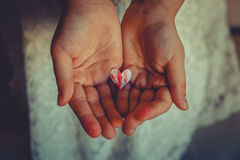 A  red heart in hands. A red heart in her hands Stock Photo