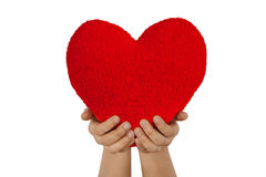 Red heart with hands made from wool isolated on wh Stock Images
