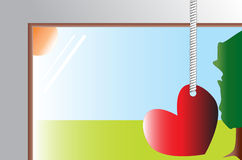 Red heart hanged on the window Royalty Free Stock Images