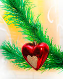 Red heart hanging on Christmas Royalty Free Stock Image