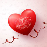 Red Heart with Happy Valentines Day Greetings in Love Patter Stock Photos