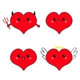 Red heart head face emotion icon set. Devil Angel Evil Amour. Trident horn wing nimbus. Cute cartoon kawaii character. Happy Valen Stock Photos
