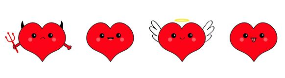 Red heart head face emotion icon set line. Devil Angel Evil Amour. Trident horn wing nimbus. Cute cartoon kawaii character. Happy. Valentines day. Flat design stock illustration