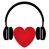 Red heart and headphones Stock Photography