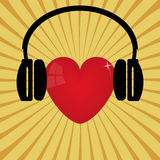 Red heart and headphones Stock Photo