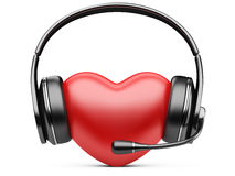 Red heart with headphones and microphone Royalty Free Stock Photo