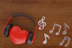 Red heart with headphones and music notes.3D illustration. Red heart with headphones and music notes. 3D illustration royalty free illustration