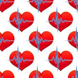 Red heart with a heart beat pulse Stock Image