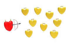 Red heart and a heart of gold Royalty Free Stock Photography