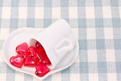 Red heart and heart shaped coffee cup Stock Photography