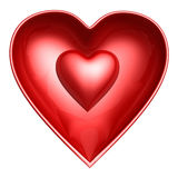 Red heart in heart shell Stock Photography