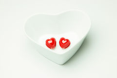 Red heart in the heart of white Cup Valentines Day. Red heart in the heart of white Cup Stock Photos