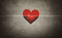 Red heart and heartbeat. In vintage style Stock Photography