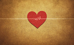 Red heart and heartbeat. In vintage style Royalty Free Stock Photos