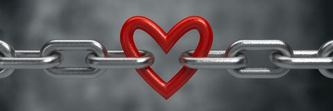 Red heart held by a steel chain Royalty Free Stock Image
