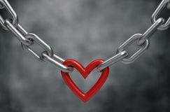Red heart held by a steel chain background. 3d render Royalty Free Stock Photography