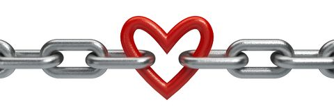 Red heart held by a steel chain. Isolated on white Royalty Free Stock Photography