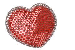 Red heart in hexagonal steel mesh.3D illustration. Red heart in hexagonal steel mesh. 3D illustration vector illustration