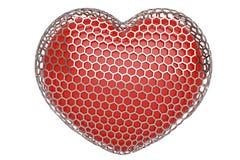 Red heart in hexagonal steel mesh.3D illustration. Red heart in hexagonal steel mesh.3D illustration stock illustration